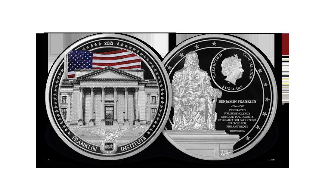 2021 An American Life Benjamin Franklin 1oz Silver Coin MS70