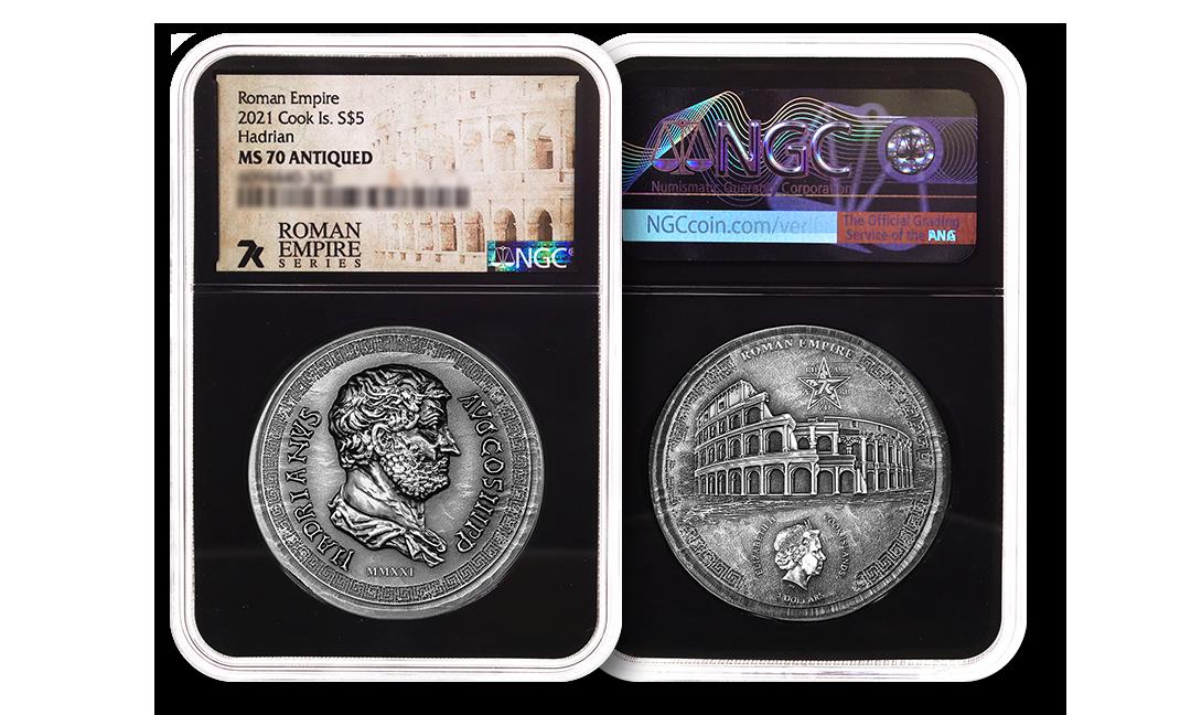 2021 Roman Empire Series Hadrian 1oz Silver Coin MS70